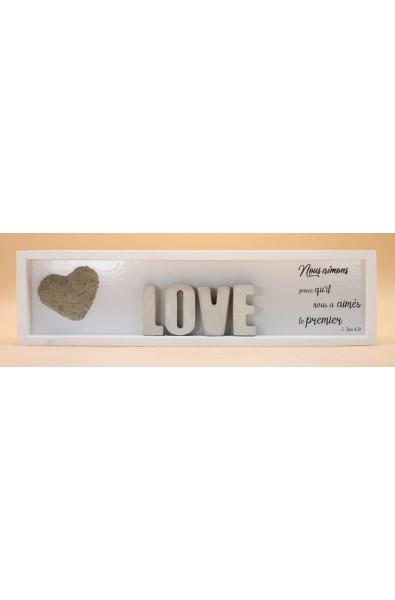 Cementini - Cadre en bois LOVE lettres ciment