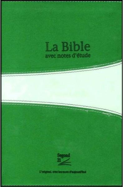 Bible Segond 21, verte, avec notes d'étude, souple, tr. argent