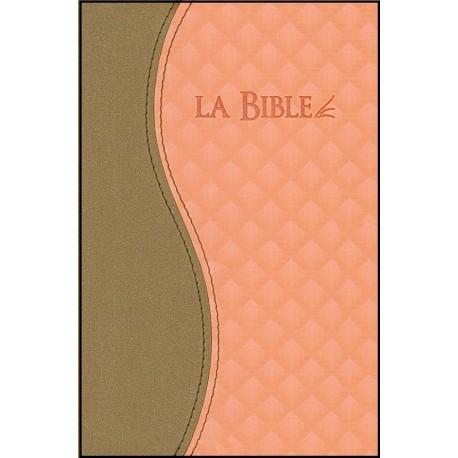 Bible Segond 21, duo brun-saumon, ferm. éclair, tr. or