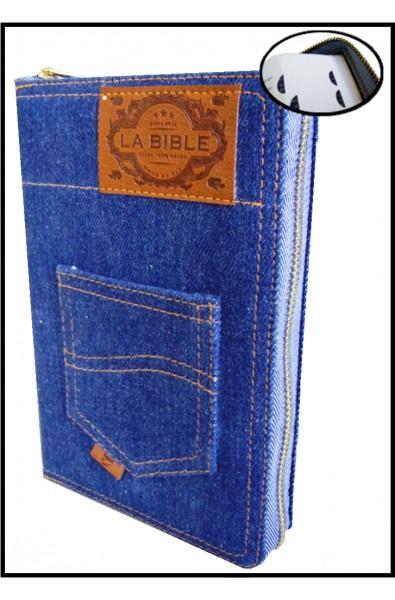 Bible Segond 21 souple, jeans, ferm. éclair et onglets