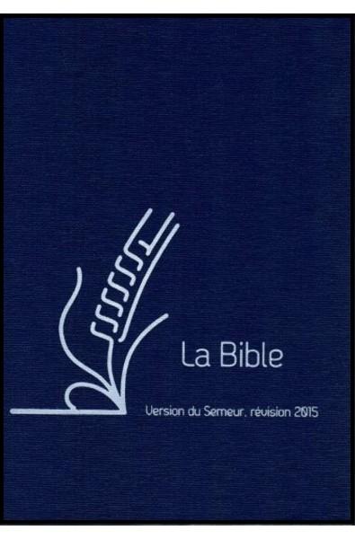 Bible du Semeur 2015, bleu rigide, renfort lin