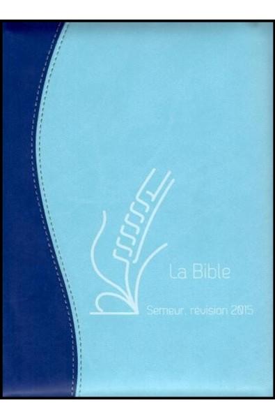 Bible du Semeur 2015, bleu, souple, ferm. éclair