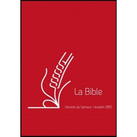 Bible du Semeur 2015, rouge rigide, renfort lin
